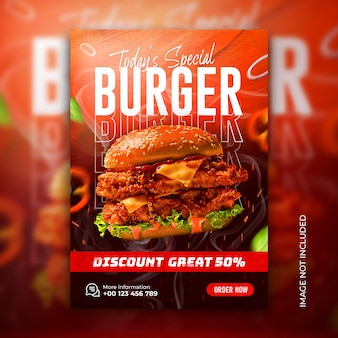 Pôster e flyer de menu de fast food delicioso hambúrguer modelo de banner de mídia social psd grátis