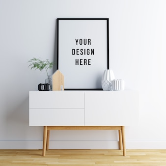 Poster frame mockup interior com decorações