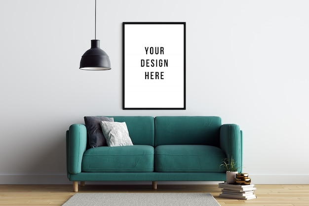 Poster frame mockup interior com sofá e decoração