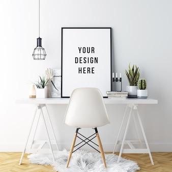 Poster frame mockup interior workspace com decorações