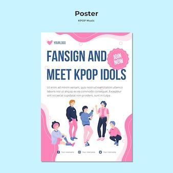 Pôster k-pop com ilustrações