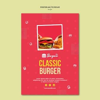 Pôster modelo de hambúrguer restaurante