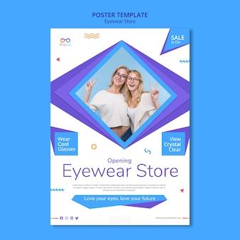 Pôster modelo de loja de óculos