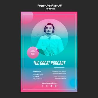 Pôster modelo de podcast de rádio