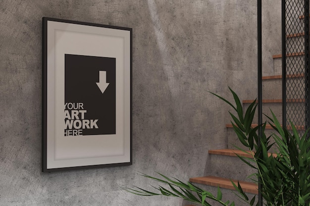 Pôster moldura maquete em design de interiores de sala industrial com textura de parede de cimento e planta 02