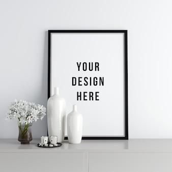 Poster poster mockup interior cena com decorações