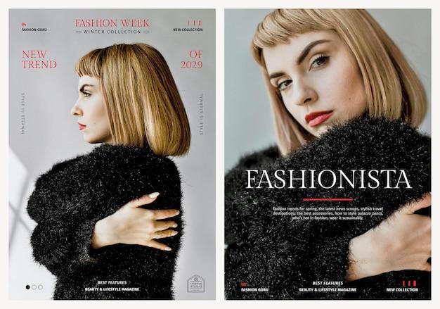 Pôster psd de modelos de moda feminina