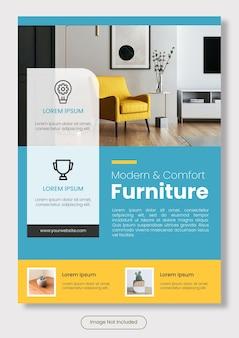 Pôster vertical de móveis modernos tamanho a4