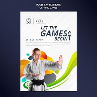 Pôster vertical dos jogos olímpicos com foto
