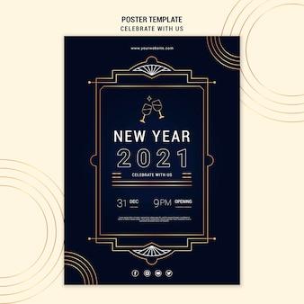Pôster vertical elegante para festa de ano novo