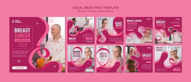 Postes ig de câncer de mama com fita rosa