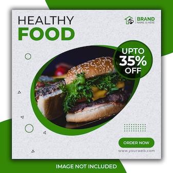 Posto de alimentação saudável para as redes sociais