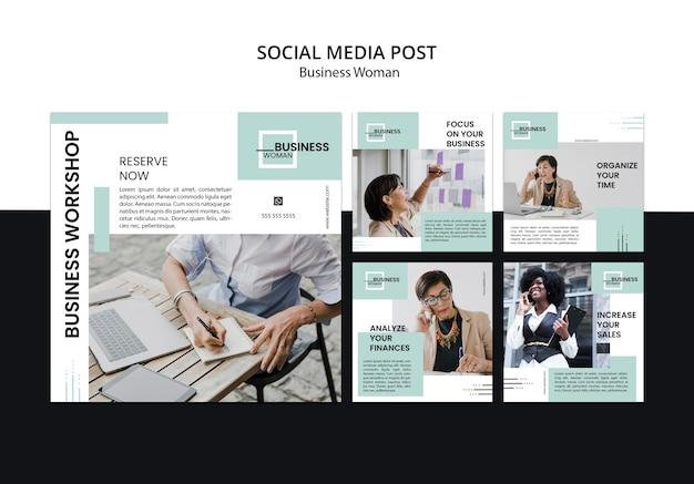 Posts de mídia social com o conceito de mulher de negócios