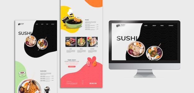 Posts de mídia social do restaurante asiático sushi