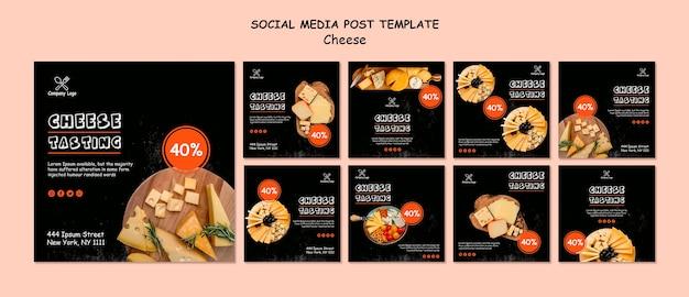 Posts nas redes sociais com degustação de queijos