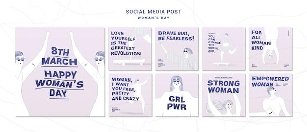 Posts nas redes sociais do dia da mulher