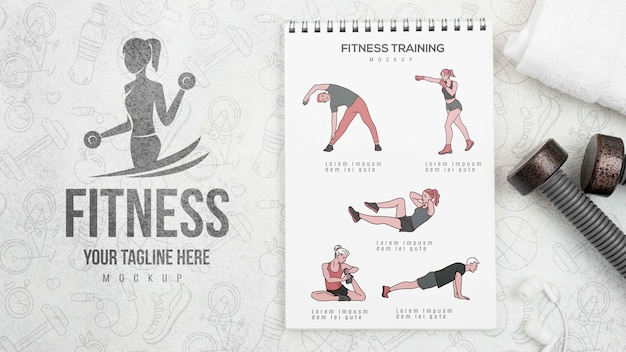 Postura plana de caderno de fitness com pesos