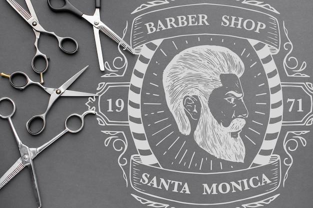 Postura plana de maquete de conceito de cabeleireiro