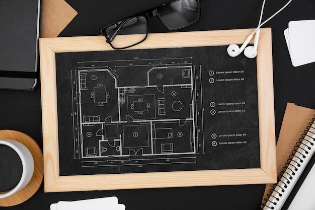Postura plana de maquete do conceito de mesa
