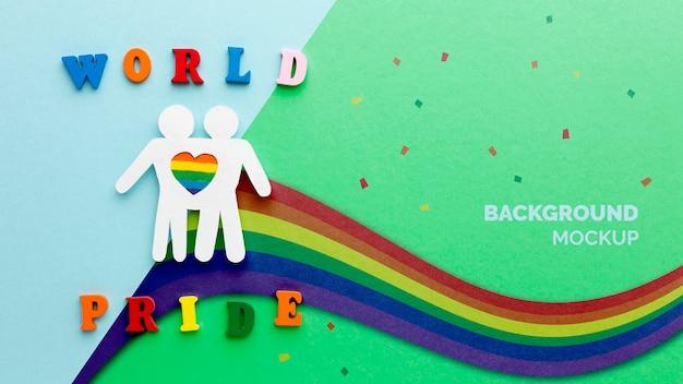 Postura plana do arco-íris por orgulho com coração e pessoas