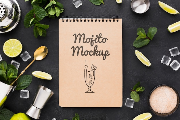 Postura plana do conceito de mock-up cocktail