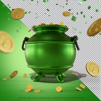 Pote 3d e moedas de ouro para renderização do dia de são patrício