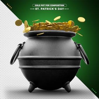 Pote de moedas de ouro 3d dia de são patrício para composição