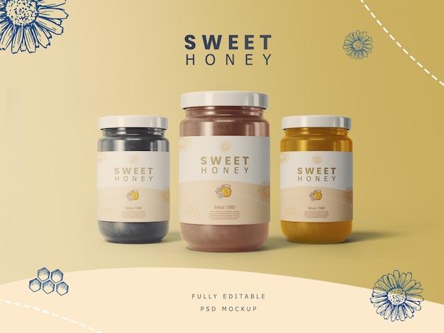 Potes de mel com maquete de etiqueta