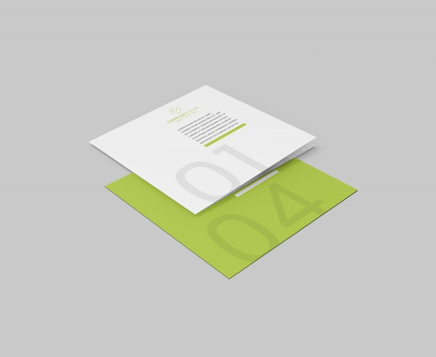 Praça bi-fold brochura maquete psd