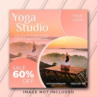 Praça de banner do estúdio de yoga pós