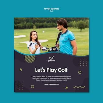 Praça de flyer praticando golfe