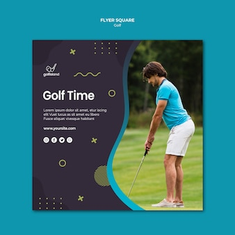 Praça de panfleto de tempo de golfe