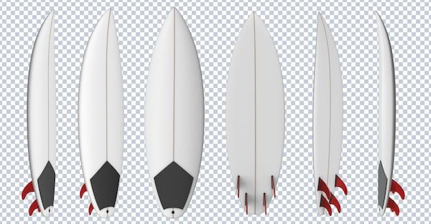 Prancha de surf com barbatanas vermelhas
