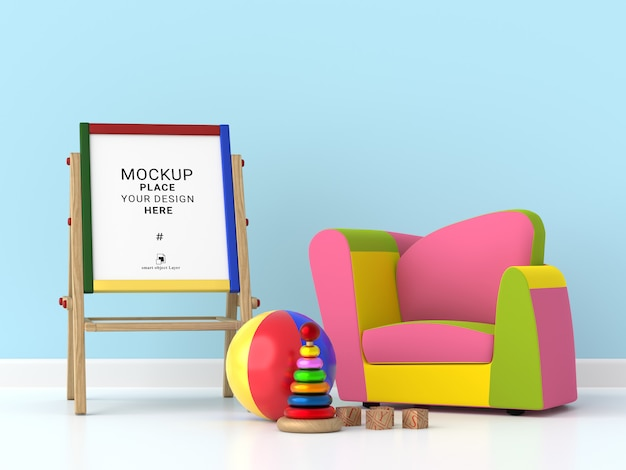 Prancheta de desenho de crianças para maquete no quarto de crianças