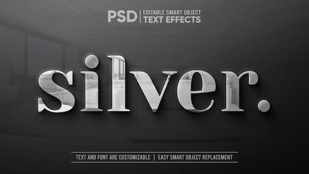 Prata limpa com reflexo na maquete de efeito de texto editável em granito