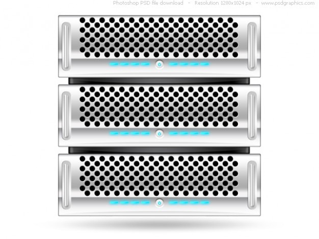 Prata rack de servidor, psd web icon