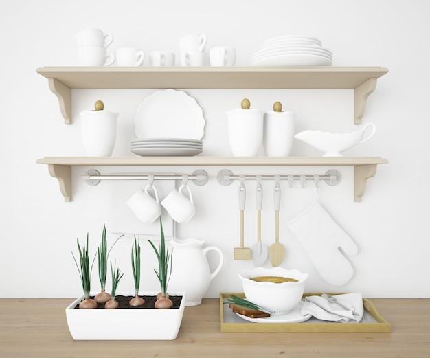 Prateleiras realistas em uma cozinha com pratos brancos