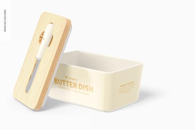 Prato de manteiga de cerâmica com tampa de bambu, aberto
