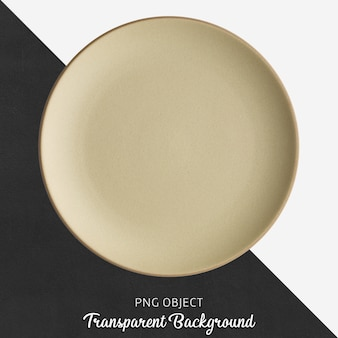 Prato redondo de cerâmica ou porcelana bege transparente
