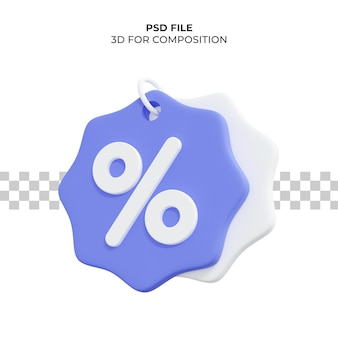 Preço de renderização 3d com desconto percentual premium psd