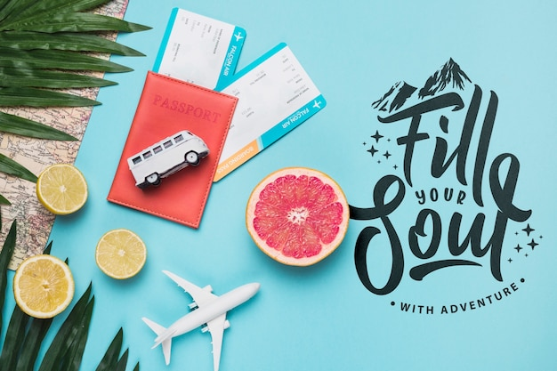 Preencha sua alma, citação de letras motivacionais para férias viajando conceito