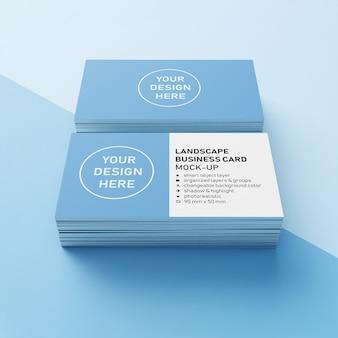 Premium 90 x 50 mm dois empilhados paisagem realista horizontal cartão de nome de negócios mock up modelo de design na vista em perspectiva frontal