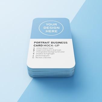 Premium editável empilhados 90x50 mm portrait business calling card com cantos arredondados mockups design templates na vista frontal