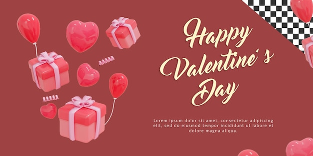 Presente, coração e balões psd happy valentine com renderização 3d