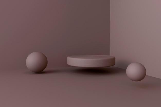Presente de renderização 3d com tela de palco