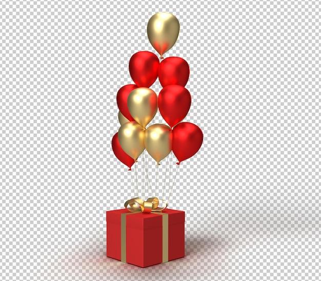 Presente e balões de renderização 3d realista