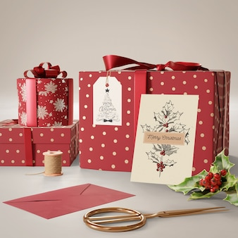 Presentes de mock-up preparados para o dia de natal