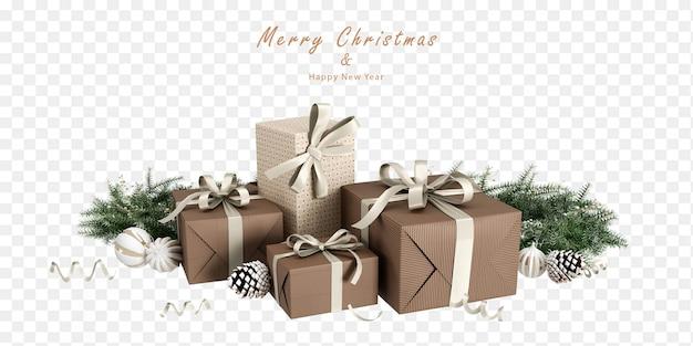 Presentes de natal e folha de pinheiro em renderização 3d