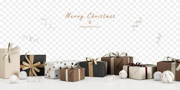Presentes e decorações de natal em renderização 3d