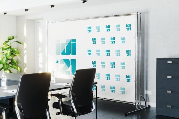 Pressione o banner na parede na maquete da sala de conferências